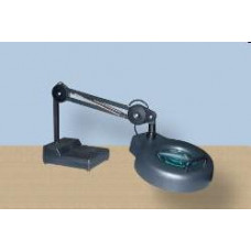 Work lamp with magnifying glass